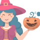 Halloween Cute Witch with Pumpkin