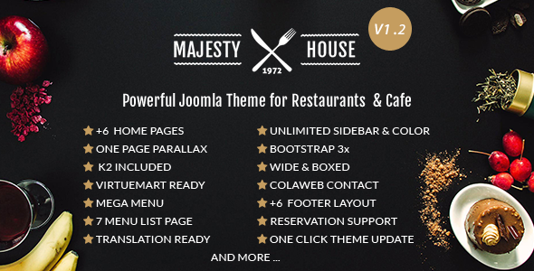 Image of Majesty Multi-Cuisine Restaurants Joomla Template