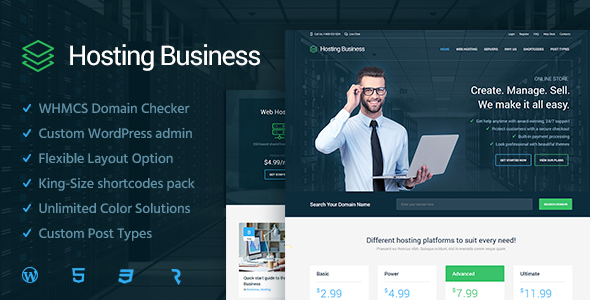 Download Hosting Business  - Technology, Software & Hosting WordPress Theme nulled download