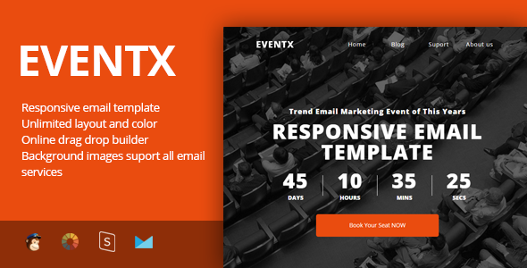 Image of EventX - Event Confference Meetup Responsive Email Template + Stampready Builder