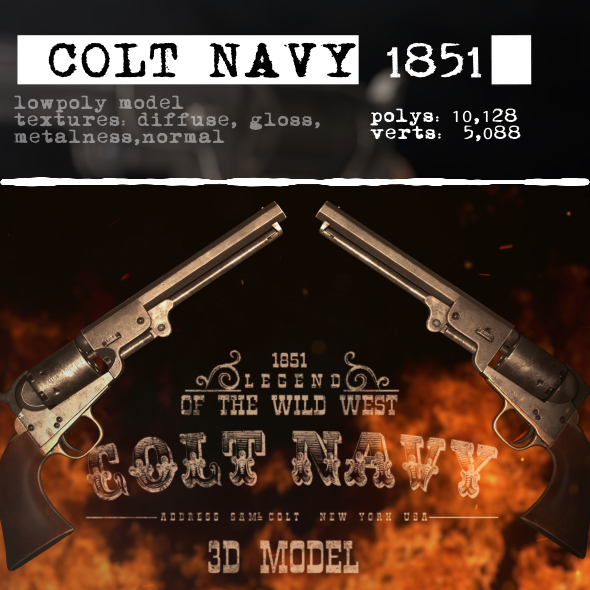 Colt Navy 1851 - 3DOcean Item for Sale