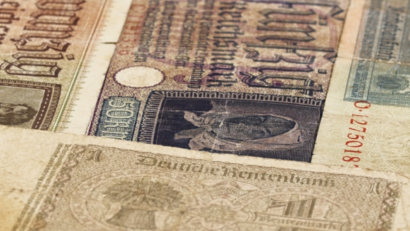Download Third Reich Nazi Banknotes 1942 WW2 In Occupied Ukraine, Rotating Background, Loop Ready nulled download