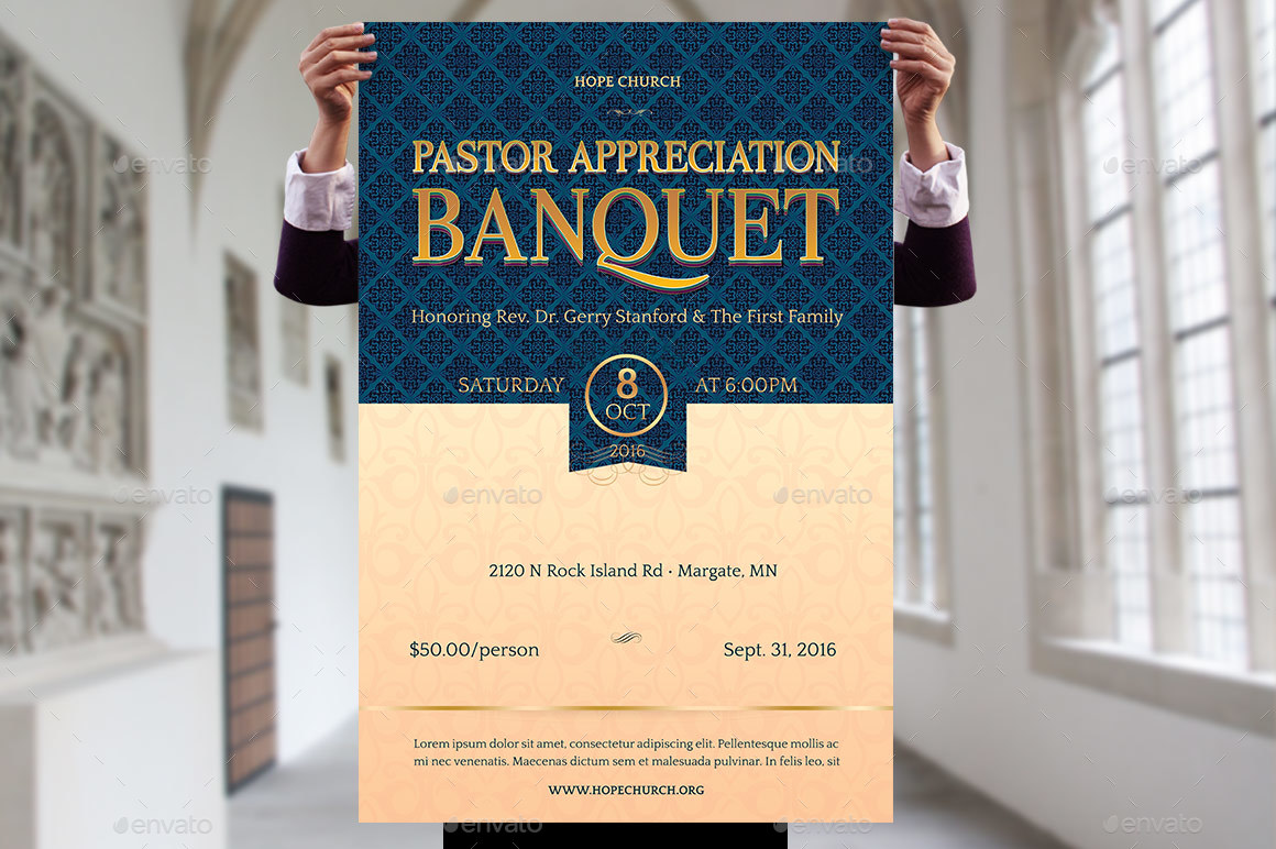 Pastor Appreciation Banquet Template Kit by Godserv2 – Banquet Ticket Template