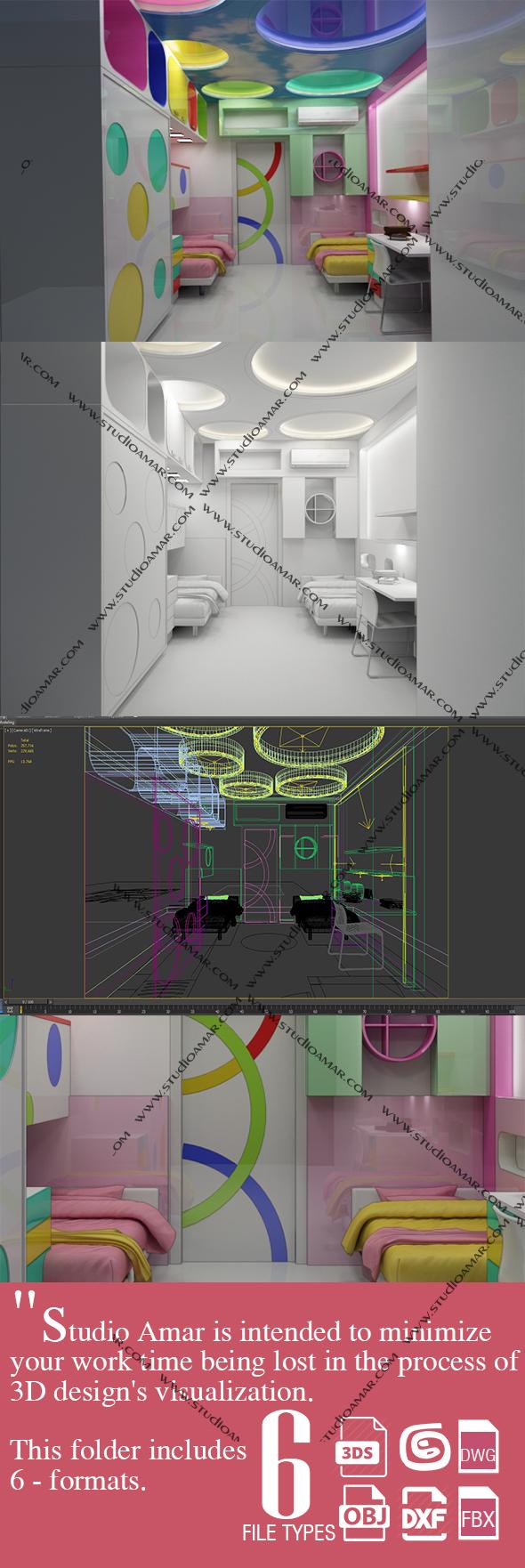 Trendy kids interior 206 - 3DOcean Item for Sale