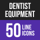 Dentist Equipment Line Inverted Icons