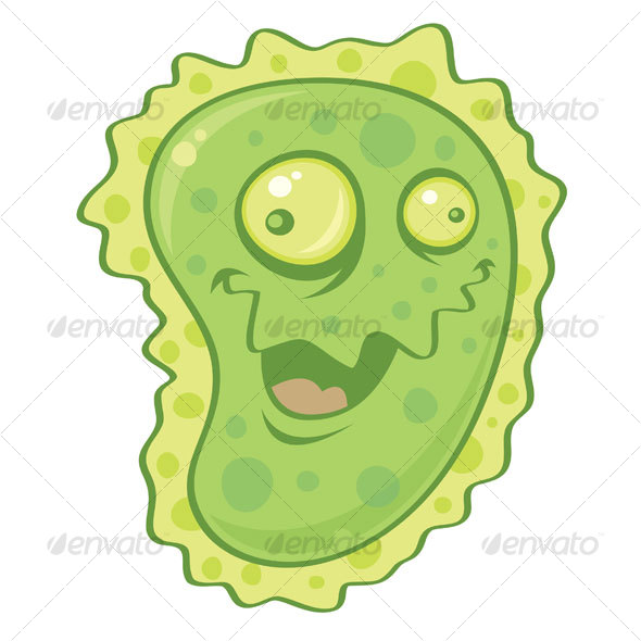 Vector cartoon illustration of a virus or germ could be used to