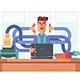 Man Office Worker Multitasking