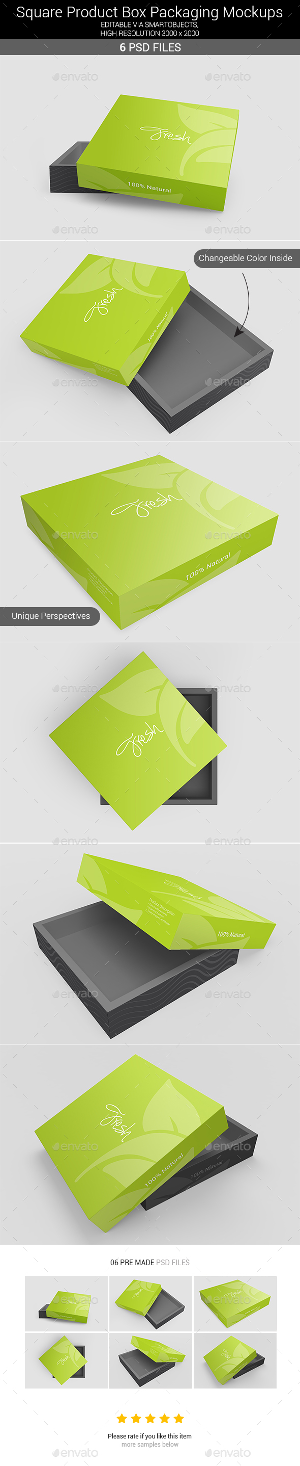 Square Box Packaging Mockups