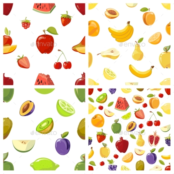 Set Of Vector Fruits Seamless Patterns