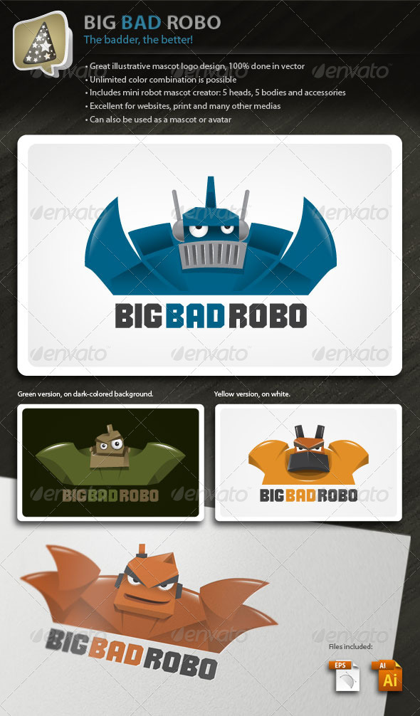 Graphic River BigBadRobo Strong Illustrative Robot Mascot Logo Logo Templates -  Objects 1790127
