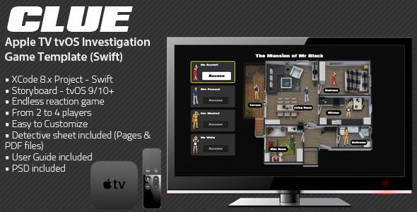 Clue TV   tvOS AppleTV Game Template for (Swift)