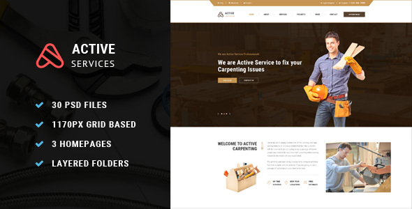 Active Service PSD Template
