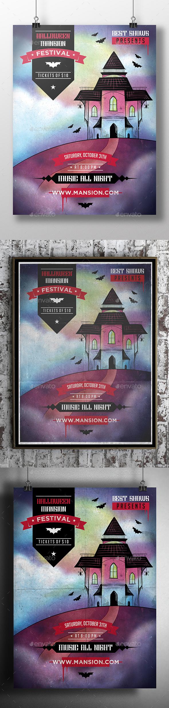 Halloween Mansion Flyer Template