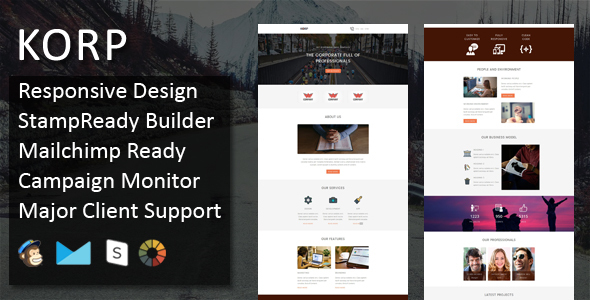 KORP – Multipurpose Responsive E mail Template + Stampready On the net Builder Access (E mail Templates)