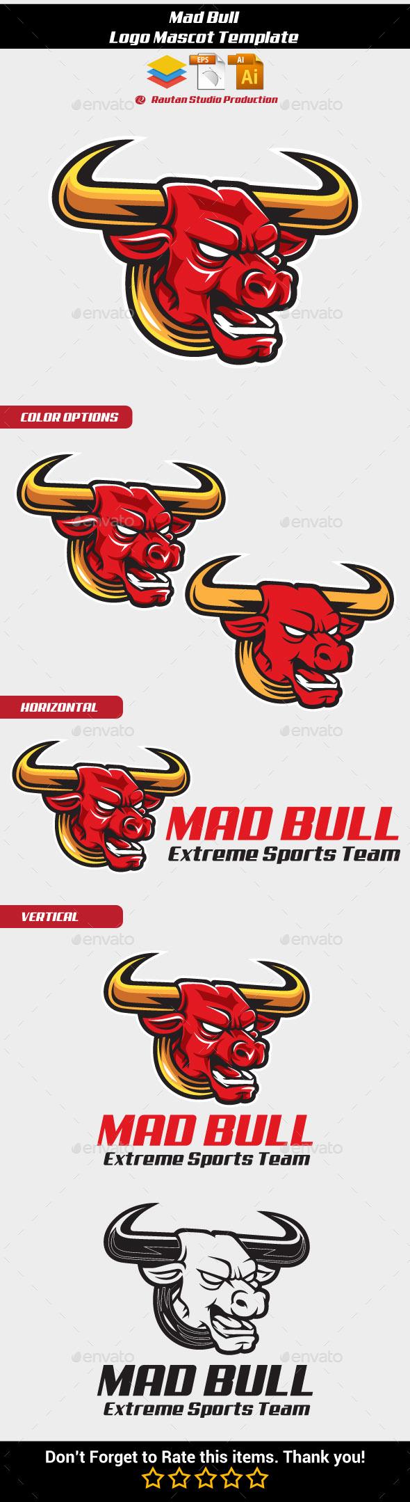 Mad Bull Logo Mascot