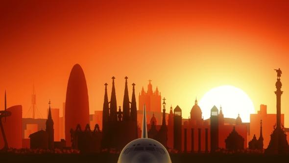 Download Barcelona Spain Skyline Sunrise Take Off nulled download