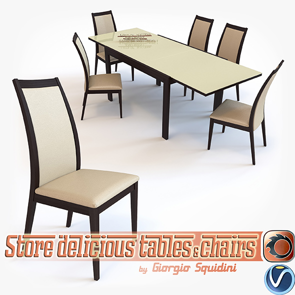 Chair CORTINA & Table NEW SMART G/4704-V dining set OLIVO & GODEASSI - 3DOcean Item for Sale