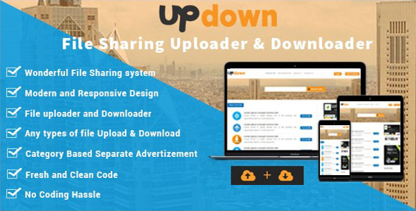 Download UpDown - Unlimited File Sharing Uploader & Downloader nulled download