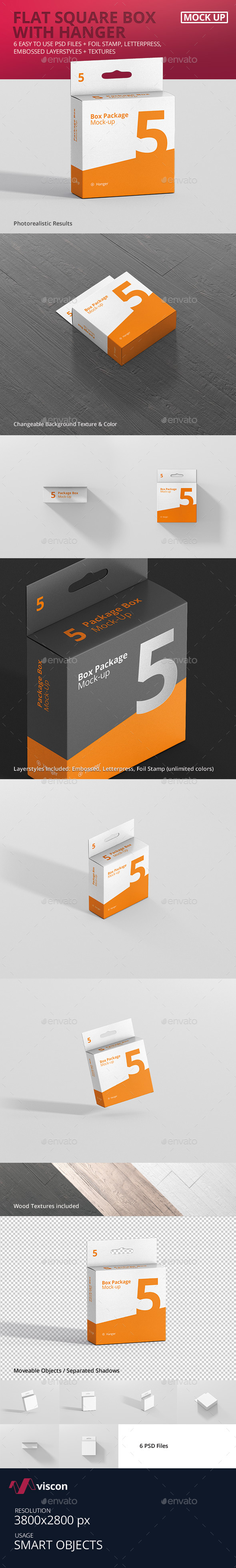 Package Box Mock-Up - Flat Square with Hanger