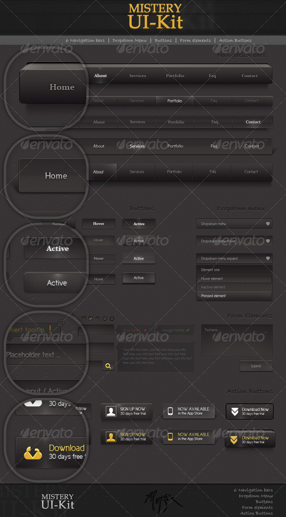 GraphicRiver Mystery Ui Kit Black 1738684