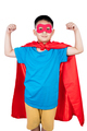 Asian Chinese boy wearing super hero costume showing muscle