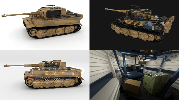 Fully built Panzer Tiger Tank Late 1944 v1 (interior and engine) - 3DOcean Item for Sale