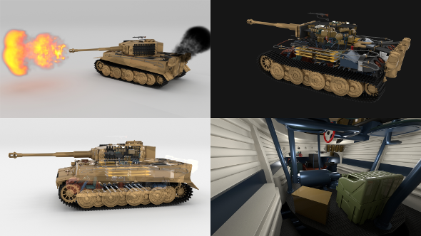 Fully built Panzer Tiger Tank Late 1944 v1 Firing (interior and engine) - 3DOcean Item for Sale