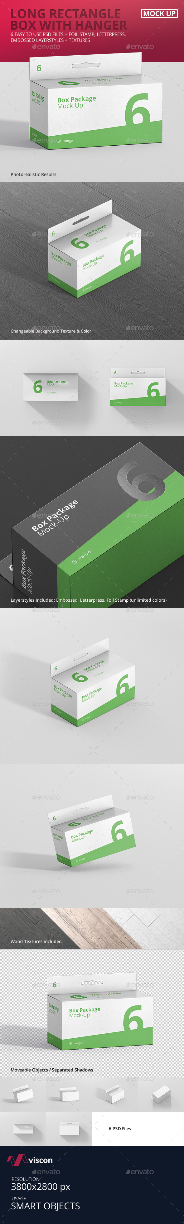 Package Box Mock-Up - Long Rectangle with Hanger