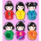Kokeshi stickers - GraphicRiver Item for Sale