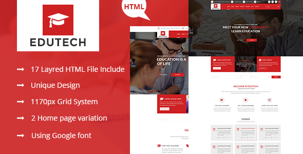 EDUTECH - Education, Course, Event & University Template