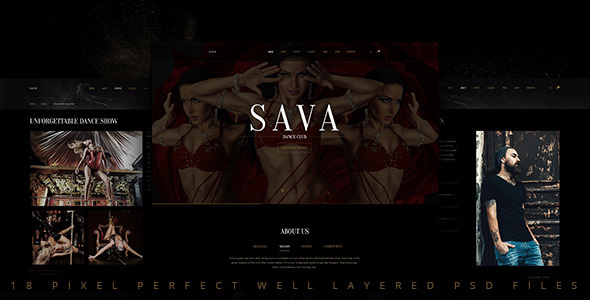 Sava — Dance school | Dance club PSD Template