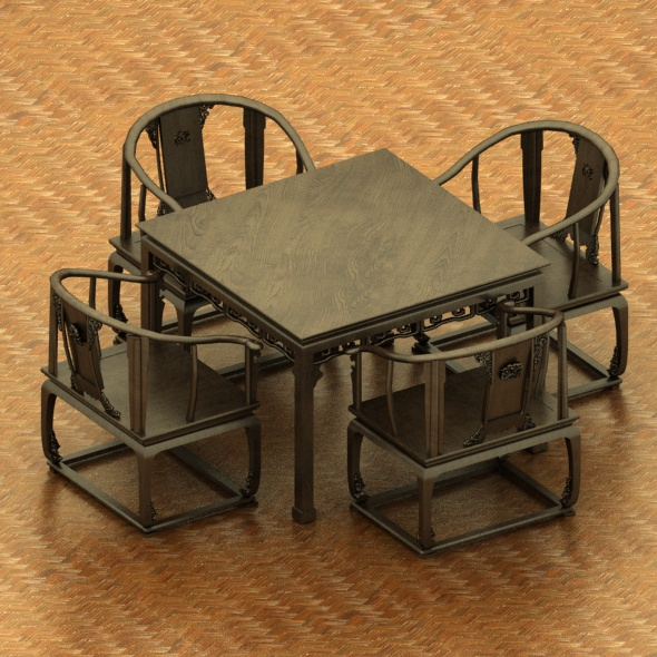 Wood Dining Table and Chairs Set - 3DOcean Item for Sale