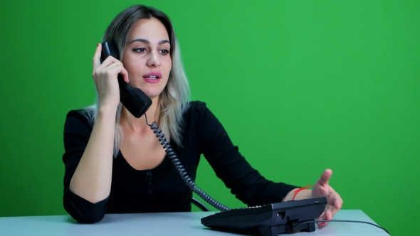 Download Business Woman Speaks On The Phone. Lady In The Office. Green Screen Studio nulled download
