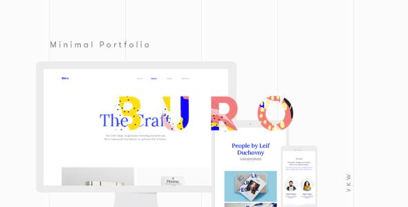 Buro minimal bootstrap typography portfolio template for Buro website
