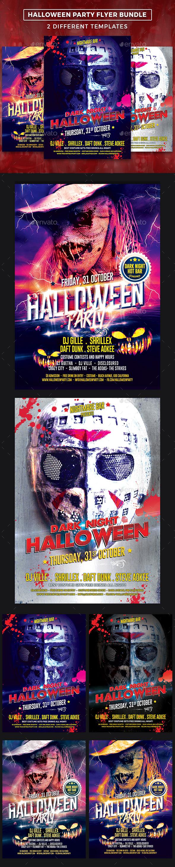 Halloween Party Flyer Template Bundle
