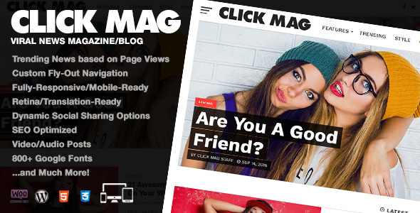 Download Click Mag - Viral WordPress News Magazine/Blog Theme nulled download