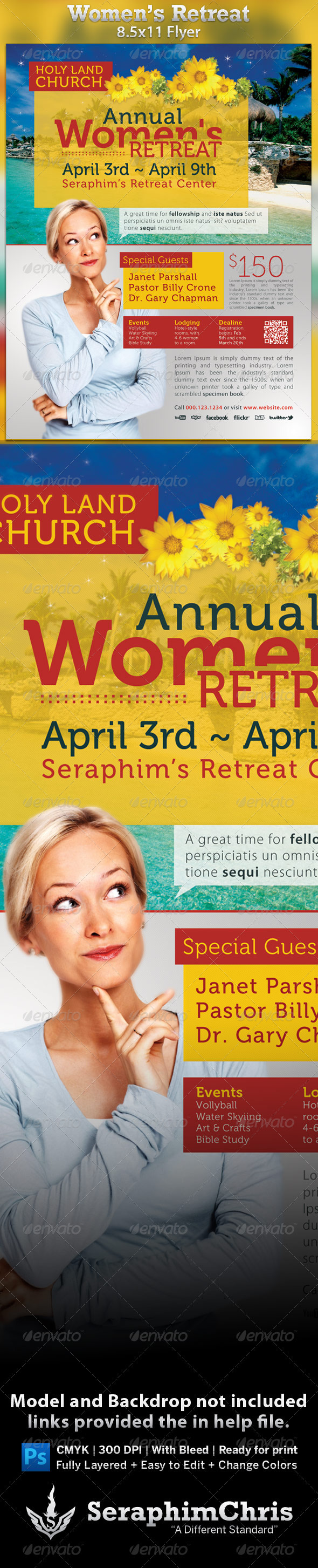 Church Women's Retreat Flyer Template - Church Flyers