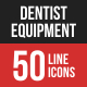 Dentist Equipment Filled Line Icons