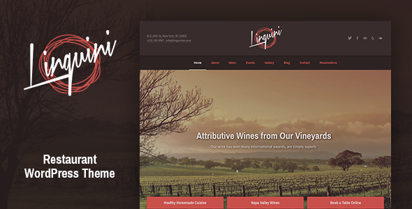 Linguini: Restaurant WordPress Theme