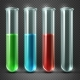Vector Test Tubes Filled with Liquids
