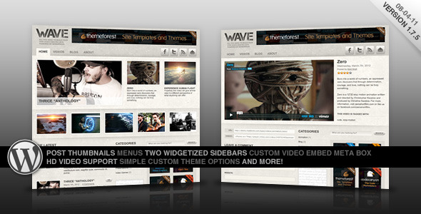 "Wave: A Video Centric Theme for WordPress - Wave ""hero"" preview image."