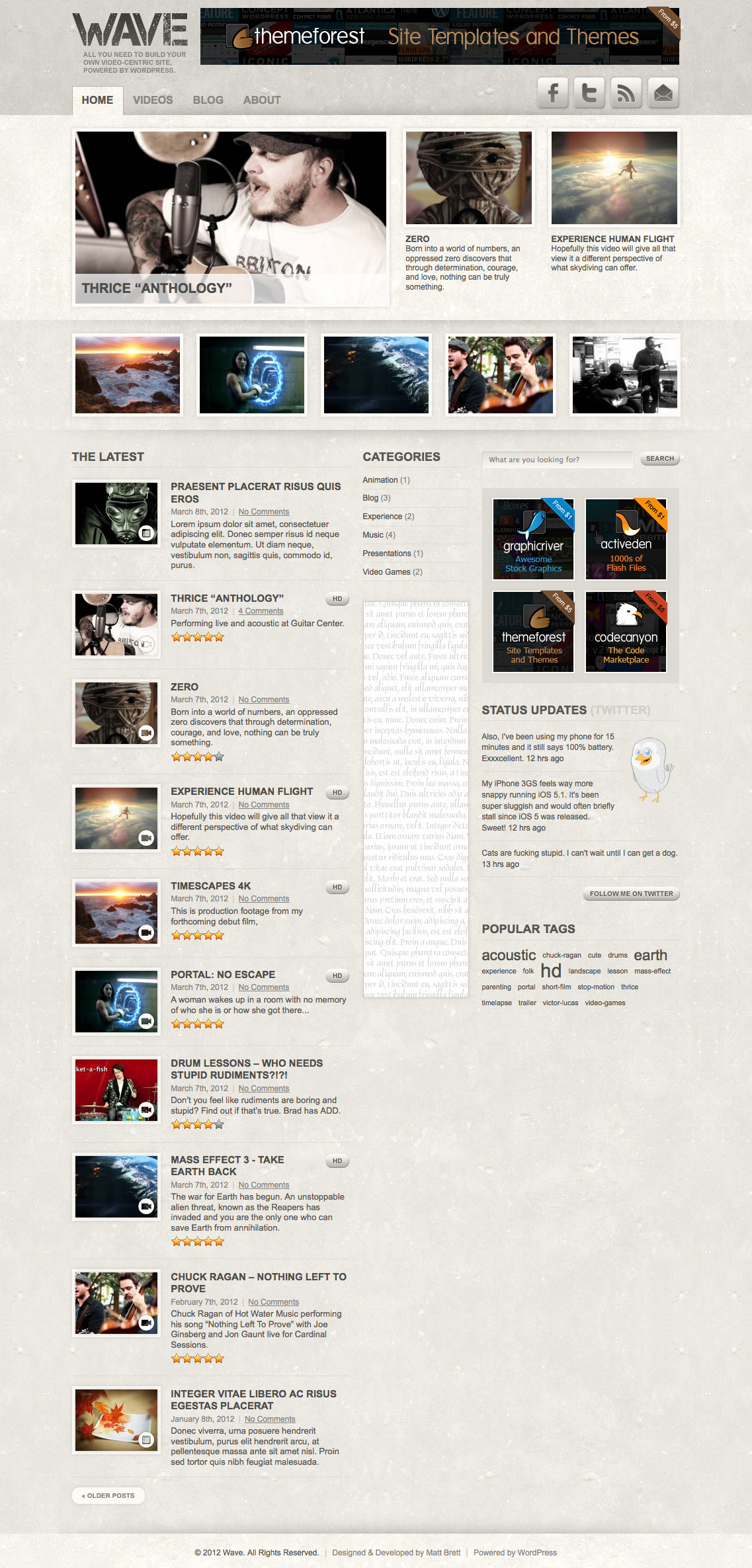"Wave: Video Theme for WordPress - Default homepage with ""grunge"" textures."