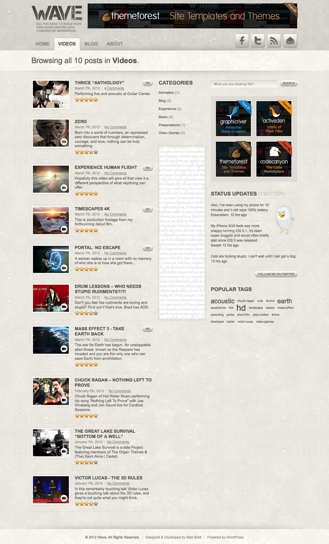 "Wave: Video Theme for WordPress - General post index template showing latest posts in the ""Videos"" category."