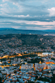 Tbilisi Georgia. Aerial Cityscape View In Evening Illimination,