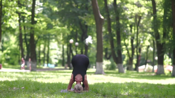 Download Blonde Doing Headstand In Park. nulled download