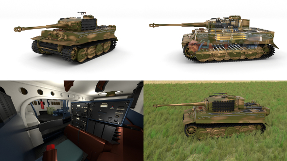 Fully built Panzer Tiger Tank Late 1944 HDRI v2 (interior and engine) - 3DOcean Item for Sale