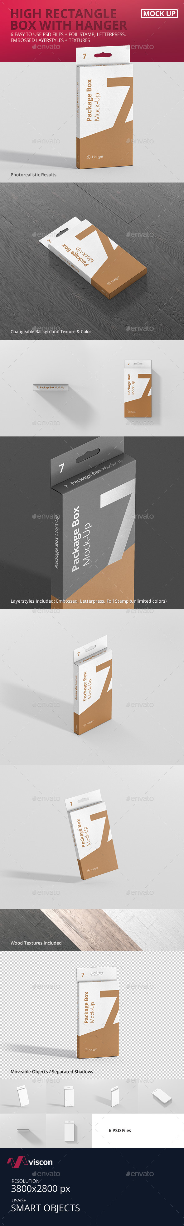 Package Box Mock-Up - High Rectangle with Hanger