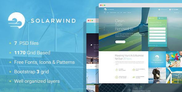 SolarWind - Renewable Energy Equipment Manufacturer PSD Template