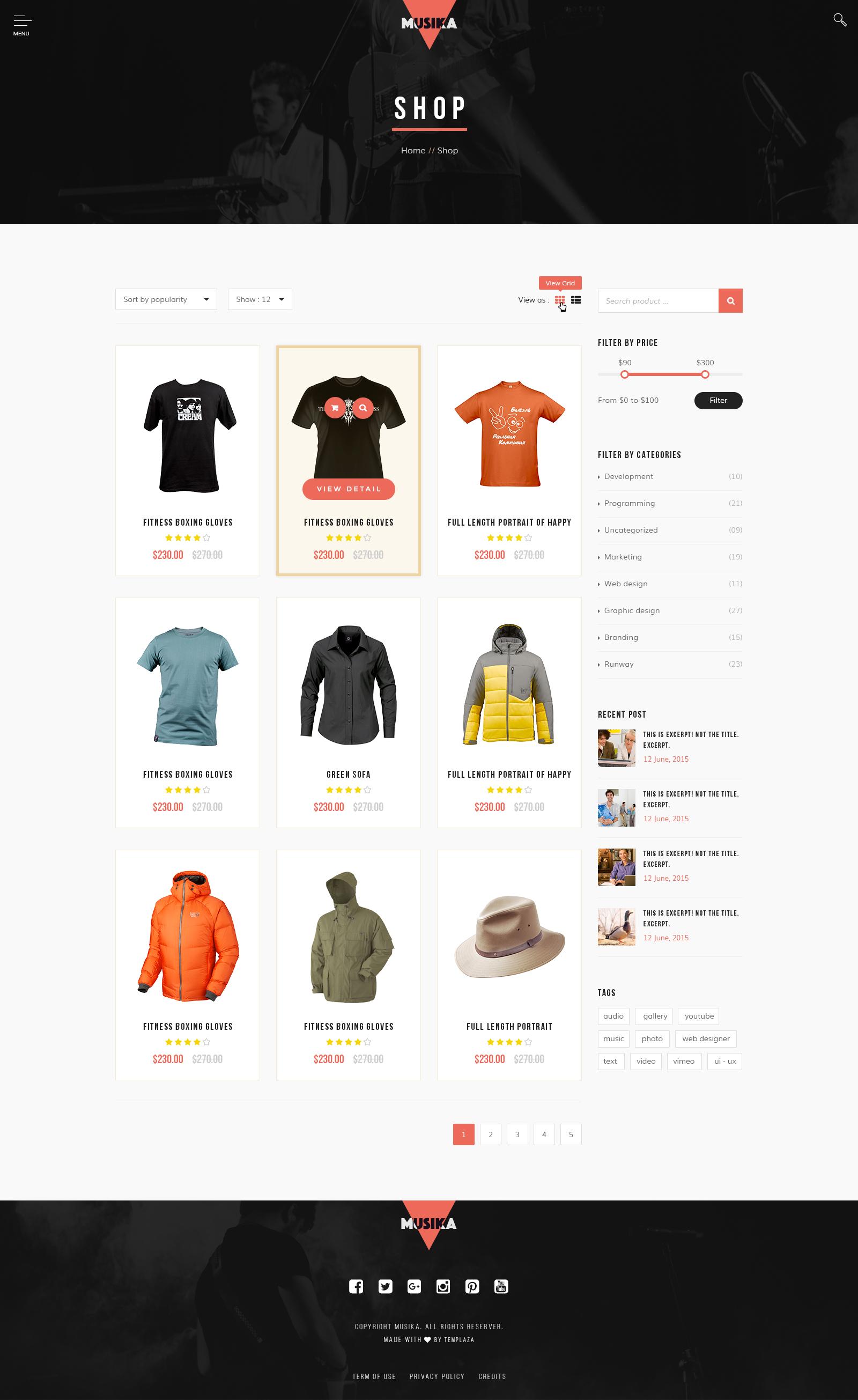 Joomla tshirt design - Musika Music Festival Band Joomla Template