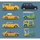 Various City Urban Traffic Vehicles Icons